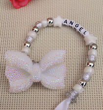 Personalised stunning dummy clip in pearl white big bow dummy chain