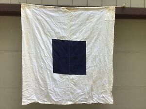 """Large vintage nautical flag. Heavyweight Cotton 4'-4 1/2"""" SQ Letter """"S"""""""