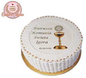 Pierwsza Komunia Swieta Photo Edible Icing Cake Topper Holy Communion