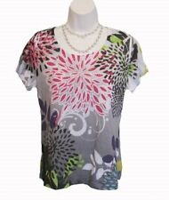 Floral Top Sublimation Shirt PETITE Size L PL Katies Kloset Studs Graphic