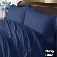 1000 Thread Count Soft Egyptian Cotton US-Bedding Items Navy Blue Striped