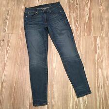 J. Crew Women's 28 Mid Rise Toothpick Skinny Jeans Dark Distressed Wash