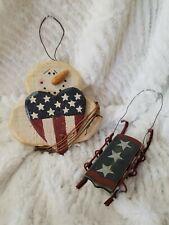 Usa Snowman Sleigh Patriotic Folk Art Country Christmas Ornament 4th Of July