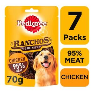 7 Pedigree Ranchos Meat Adult Dog Treats Chicken Dog Chews (7 x 70g packs)