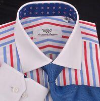 Red White Blue Patriot Formal Business Dress Shirt Ninja Boss Stars White Collar