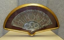 Vintage Italian Hand Fan Framed Shadowbox Frame Mother Of Pearl We