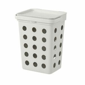 IKEA HÅLLBAR bin with lid for organic waste 32.6 cm light grey