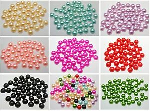 200 Half Pearl Bead 10mm Flat Back Round Gems Scrapbook Craft Pick Your Color
