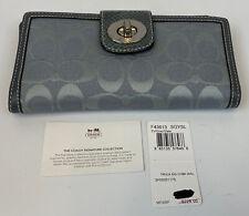Coach Grey/Slate Turnlock Signature C Checkbook Wallet NEW NWT F43613 Bifold
