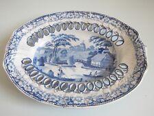 Antique SPODE Chestnut Panier Support ou plaque réticulé Bleu & Blanc Transfert