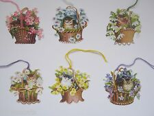Set Of 6 Victorian Cats In Baskets Of Flowers Die-Cut Gift Tags From Courtier