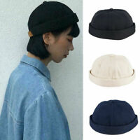 Unisex Women Men Skullcap Sailor Cap Rolled Cuff Retro Brimless Beanie Hat Gift