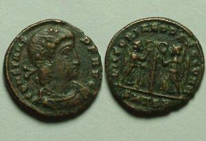 Rare Genuine ancient Roman coin Constans 347AD Victories Laurel Wreath Branch/EF