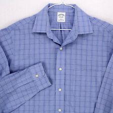 BROOKS BROS Slim Fit Light Blue Glencheck Plaid L/S BUTTON SHIRT MEN'S L 15.5 35