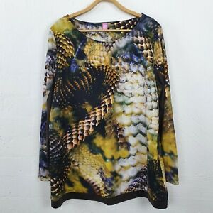 BASLER Womens Brown/Black/Yellow Stretch Knit Long Sleeve Top Size 46