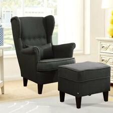 Chesterfield Orthopedic Fireside High Wing Back Armchair with Stool Chair Retro