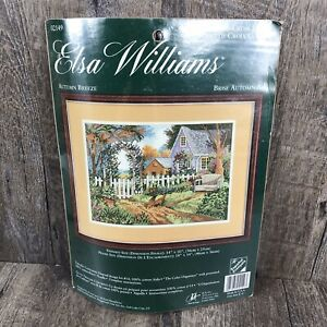 Elsa Williams Autumn Breeze-Cottage Chickens Out Front #02149 Cross Stitch Kit
