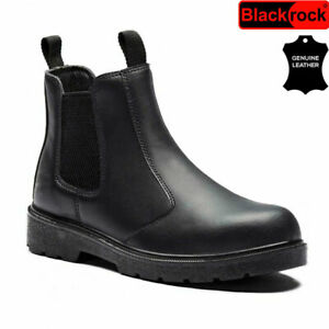 MENS LEATHER CHELSEA DEALER SAFETY BOOTS WORK BOOTS SHOES STEEL TOE CAP HIKER