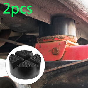2X Floor Cross Slotted Frame Rail Protector Rubber Jack Pad Disk Pinch Weld Side