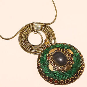 """AMETHYST, MALACHITE & RED CORAL GOLD PLATED TIBETAN PENDANT CHAIN 17-18"""""""