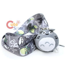 My Neighbor Gray Totoro Lanyard Key Chain ID Holder with Plush Doll Charm 2.5""