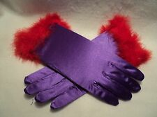 """Red Hat Society """"Purple Satin Gloves with Red Feather Trim"""""""
