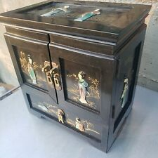 Oriental Cabinet Hand Painted Black Lacquer, Hk, ca. 1990s, 13""