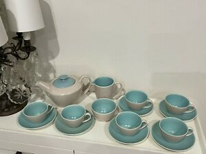 Poole England Twintone Grey/Green Teapot, 6 Cups & Saucers, Milk Jug, Sugar Bowl