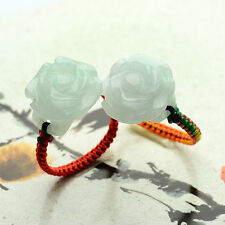 Flower Certified Grade A Green Jadeite Jade Ring Beads RED String Hand carved