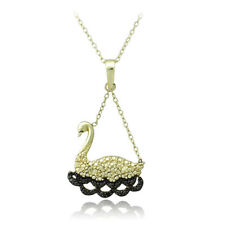 """18K Gold over 925 Silver Black Diamond Accent Swimming Swan Necklace, 18"""""""
