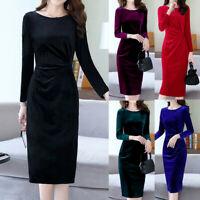 Elegant Women ONeck Velvet Long Sleeve Slim High Waist Midi Dress Cocktail Dress