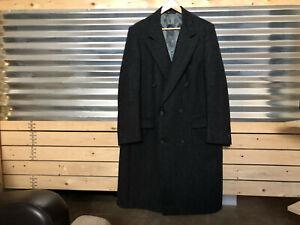 Pierre Cardin Vtg Gray 100% Pure Wool Herringbone Double Breasted Coat USA Sz L