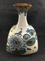 "Hand Painted Mexican Flower Vase Bird Butterfly Design Pottery 10"" Ken Edwards"