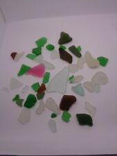 TUMBLED GLASS PINK GREEN AMBER BROWN SEASIDE BEACH BEAD JEWELLERY CRAFT WORK