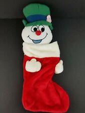 "Vintage Frosty The Snowman Plush Christmas Stocking 20"" RARE VGC ☃️"