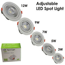 Modern LED Adjustable Tilt Angle Downlight Recessed Round Ceiling Spotlights UK