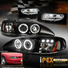 New 1994-1998 Ford Mustang GT Projector Halo LED Black Headlights + Fog Light
