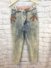 Vintage 80's JOKKO Acid Wash High Waist Tapered Leg Leather Patch Jeans Size 28""