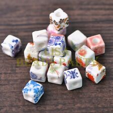 50pcs Mixed Patterns 10mm Cube Porcelain Ceramic Charm Loose Spacer Beads Lot