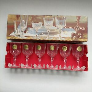Set Of Six Vintage Crystal Cristal D Argues Sherry Port Liquer Glasses