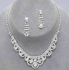 Silver Plated Rhinestone Crystal Necklace & Earrings Set Choker Jewellery Ball