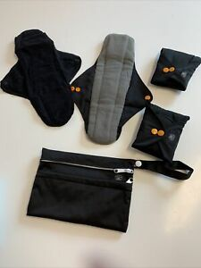 Set Of 4x Reusable Sanitary Towel Pads With Storage Pouch