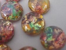 24pc VTG GLASS FIRE OPAL 7mm JAPAN CAB FLAT BACK LOT STONE JEWELRY REPAIR CRAFTS
