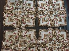 Kim Seybert Set of 4-  Placemats Chargers Browns Taupe Beige Red Copper Beaded