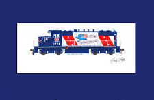 "Missouri Pacific Bicentennial GP18 11""x17"" Matted Print by Andy Fletcher signed"