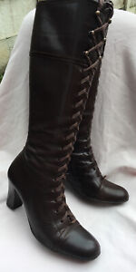 """NEXT VICTORIAN STYLE KNEE HIGH LEATHER LACE UP BOOTS WITH A 2.5"""" HEEL SIZE UK 5"""