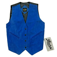 Vintage Learsi Blue Suede Weskit Vest Snap Front Western Women's Size M L NWT