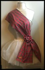 Royal Stewart Tartan Sash Scarf Rosette Burns Night Scottish Costume Red Fabric