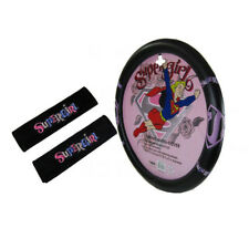 New Comic Pink SuperGirl Car Truck Steering Wheel Cover Seat Belt Covers Pads