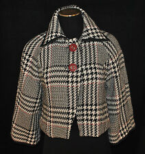 CHIC Houndstooth Cropped Shrug Bolero Brunch Swing Layering Jacket Top S